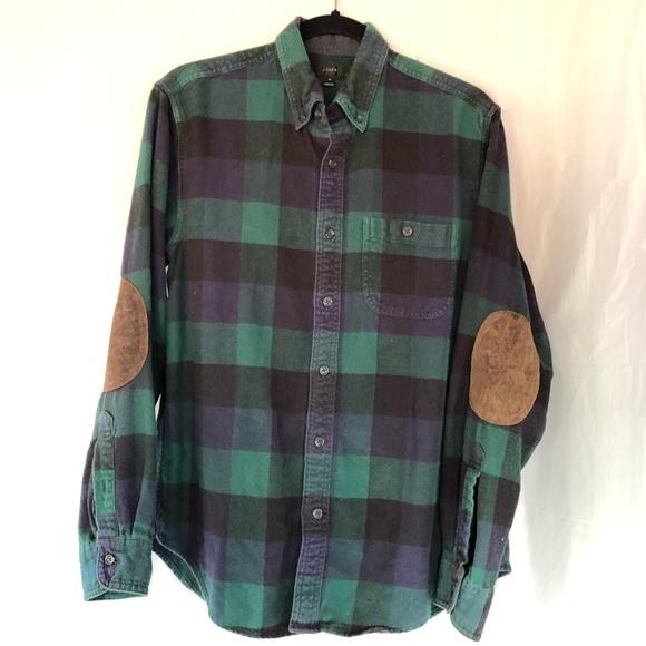J.Crew black label 100% cotton button down flannel shirt plaid leather elbow pad
